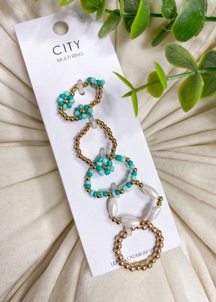 Floral Bead Elastic Ring Set
