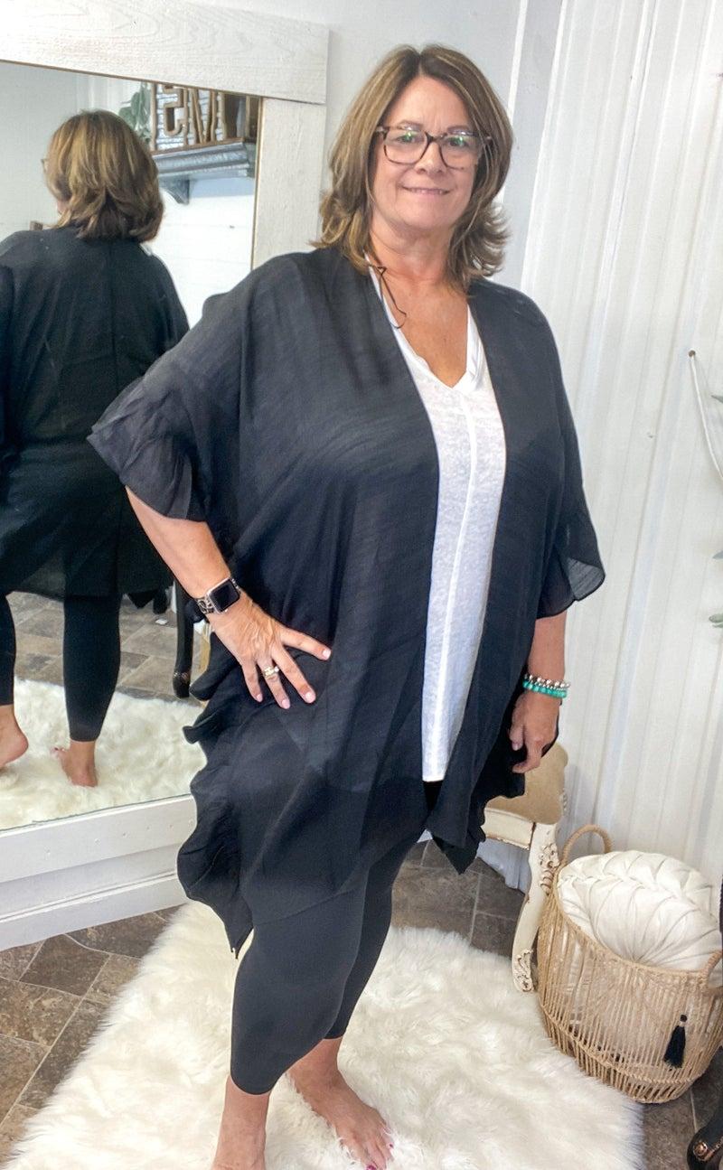 Black Ruffle Edge Kimono