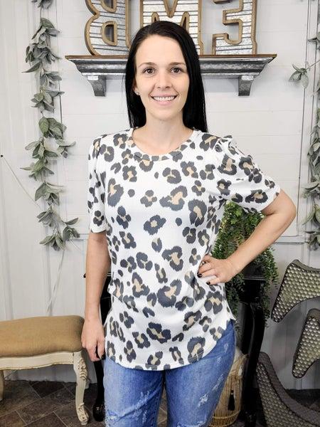 Ivory Leopard Print Puff Sleeve Top