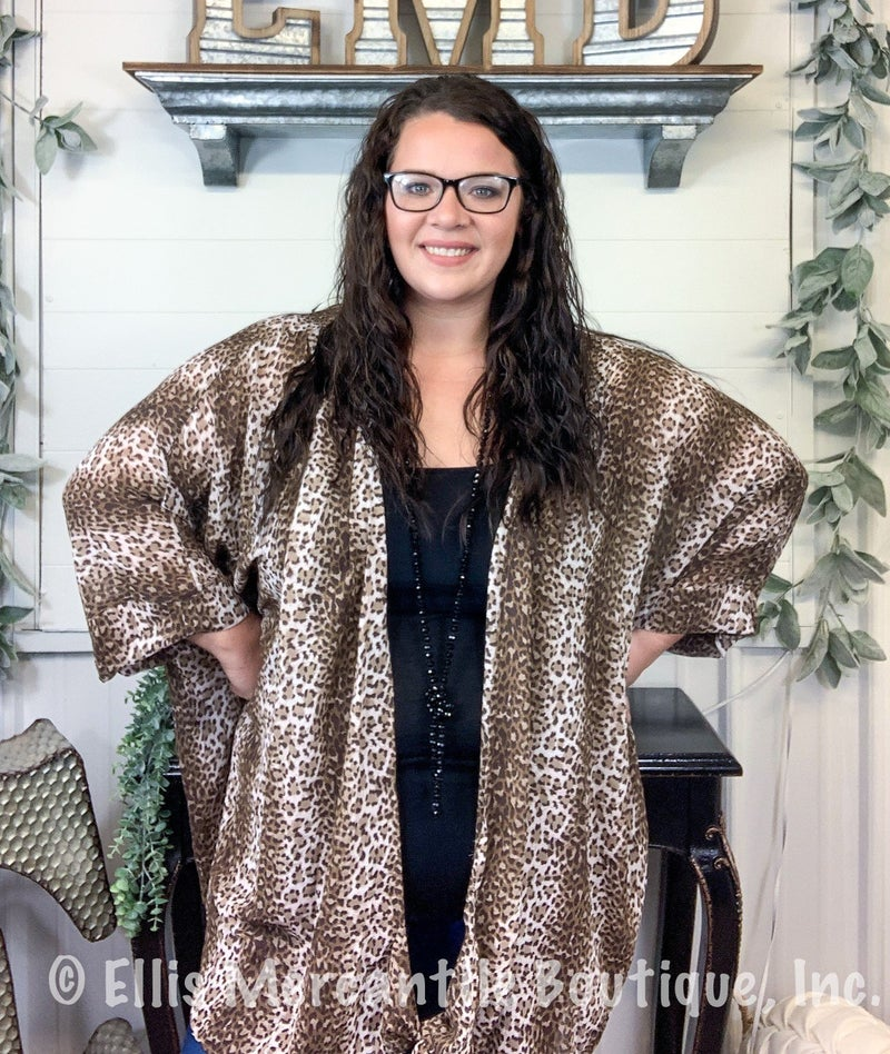 Taupe Leopard Front Tie Kimono*