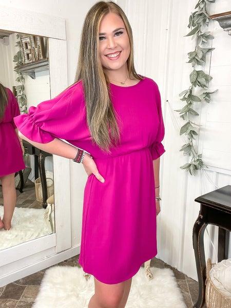 Fuchsia Ruffle Dolman Sleeve Dress (ONLINE ONLY)*