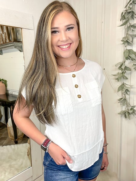 Ivory Button Front Top