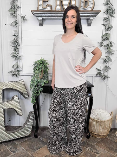 Black Leopard Palazzo Pants (ONLINE ONLY)*