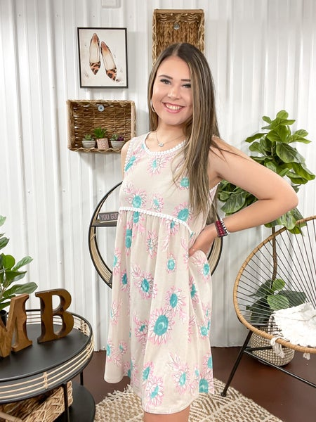 Taupe & Sunflower Dress - ALL SALES FINAL