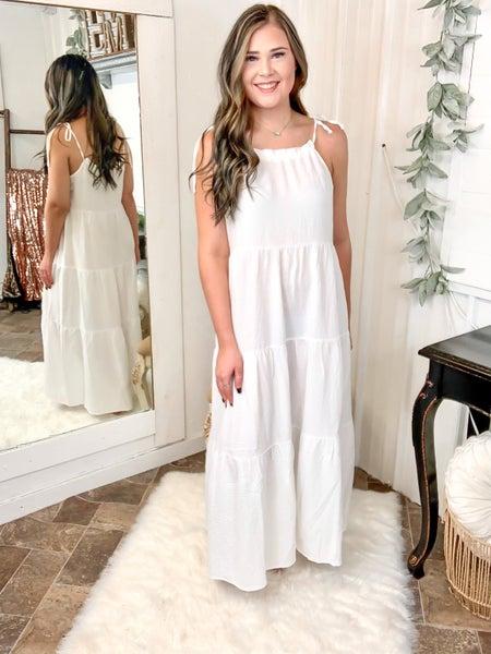 White Tie Shoulder Maxi Dress*