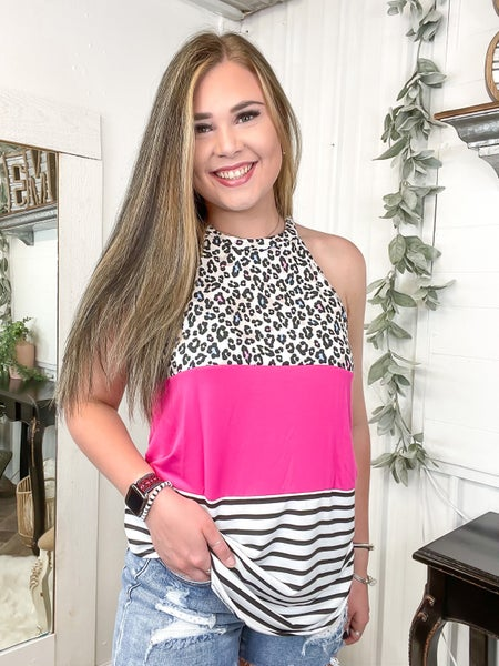 Colorful Leopard & Fuchsia Color Block Halter Top (ONLINE ONLY)*