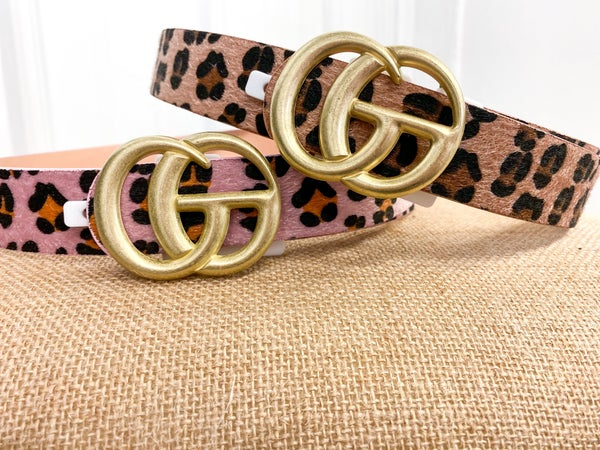 Faux Fur Leopard Print Belt