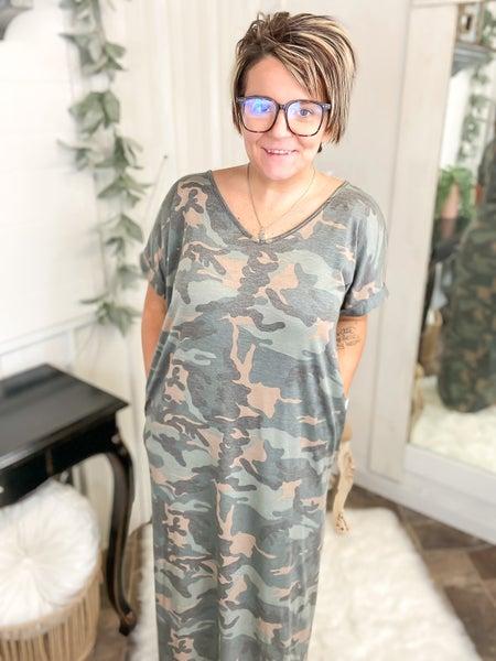 Camo Crisscross Back Maxi Dress