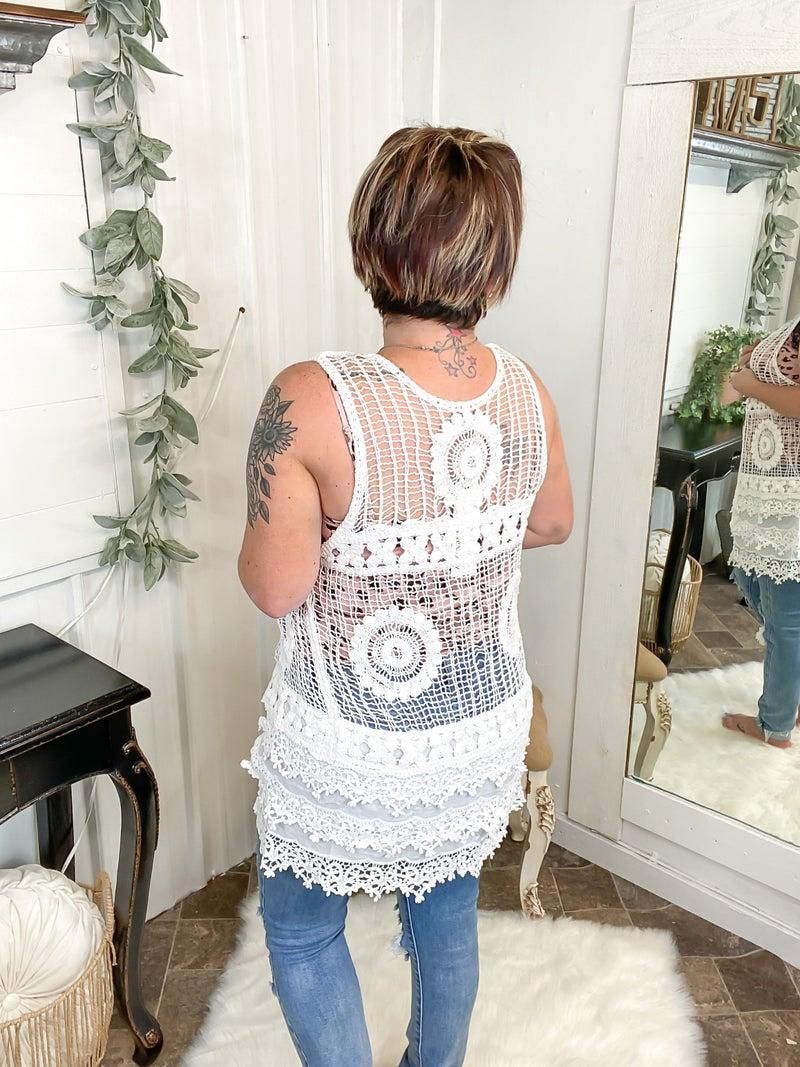 White Crochet Vest*