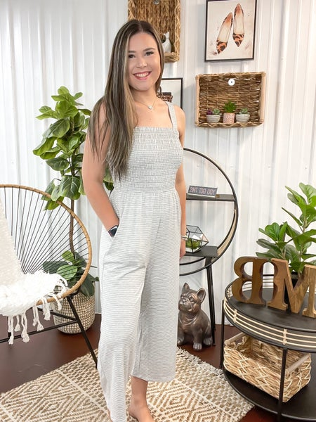 Heather Grey Striped Smocked Top Jumpsuit