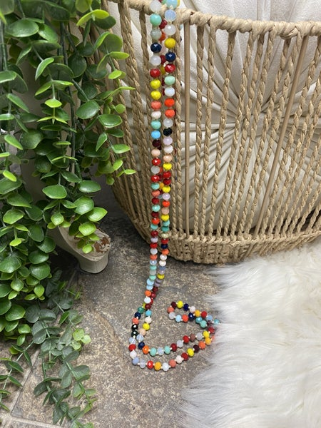 Multi Color Crystal Bead Necklace