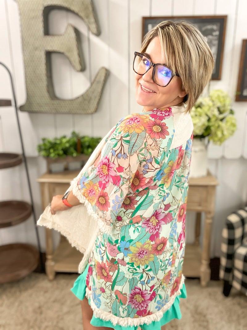 Linen & Floral Kimono