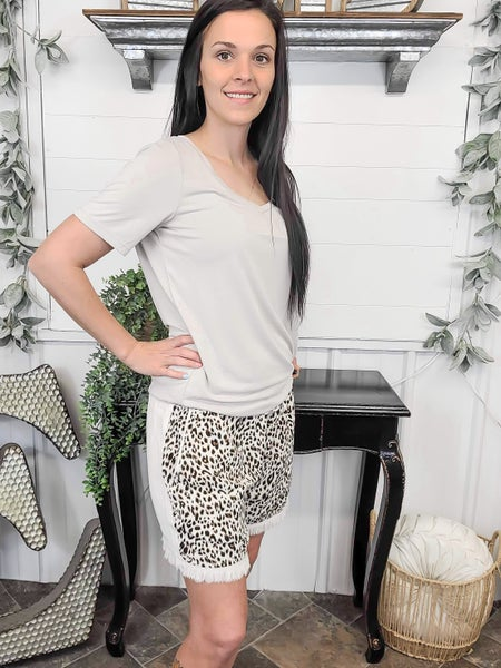 Oatmeal Leopard Front Linen Shorts