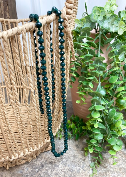 """Forrest Green 36"""" Crystal Bead Necklace"""