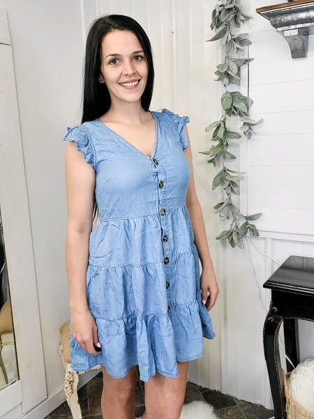 Chambray Tiered Flutter Sleeve Dress (ONLINE ONLY)*