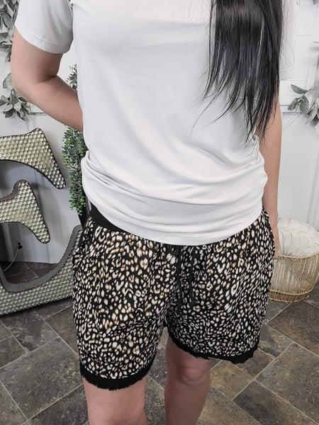 Black Leopard Front Linen Shorts
