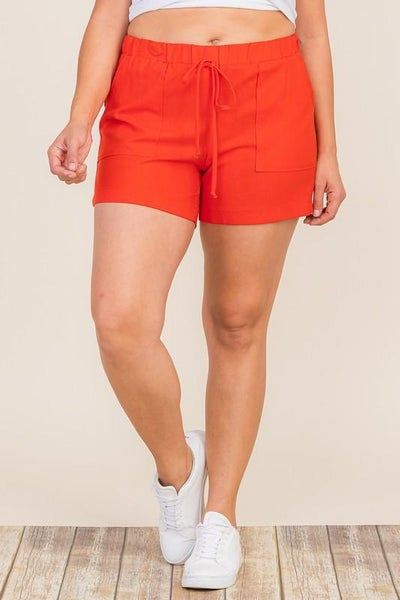 Orange Linen Patch Pocket Shorts