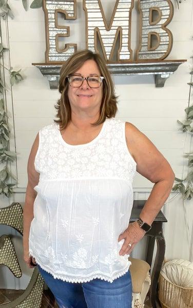 White Floral Embroidered Sleeveless Top *