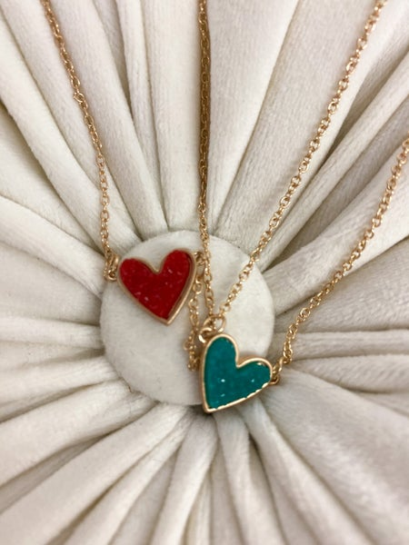 Druzy Heart Necklace*