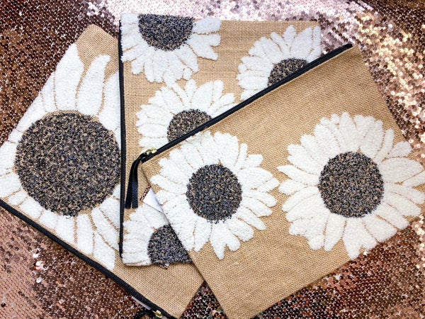 Chenille Embroidered Sunflower Pouch