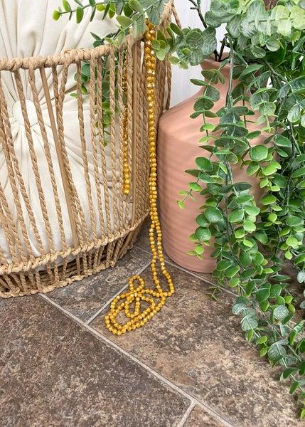 Mustard Crystal Skinny Bead Necklace