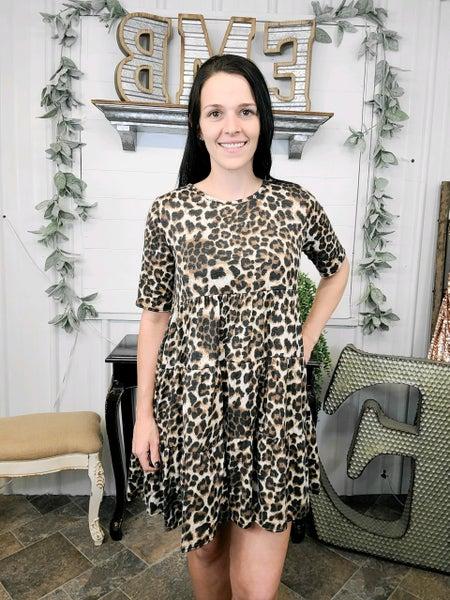 Mocha Leopard Print Tiered Dress (ONLINE ONLY)*