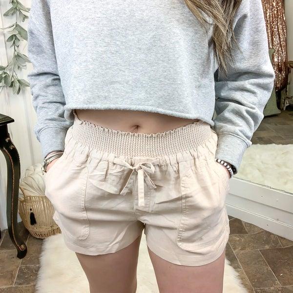 Khaki Smocked Waist Linen Shorts (ONLINE ONLY)*