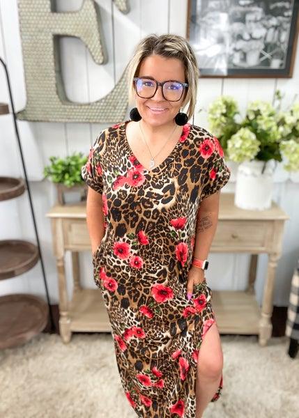 Red Floral & Animal Print Maxi Dress