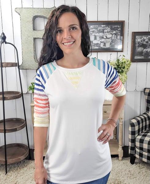 Colorful Stripes Raglan Top