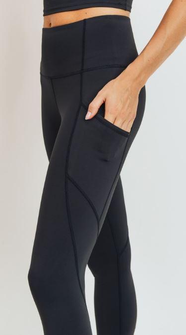 Black Slant Panel Leggings