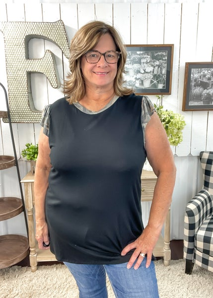 Black & Camo Sleeve Top ALL SALES FINAL