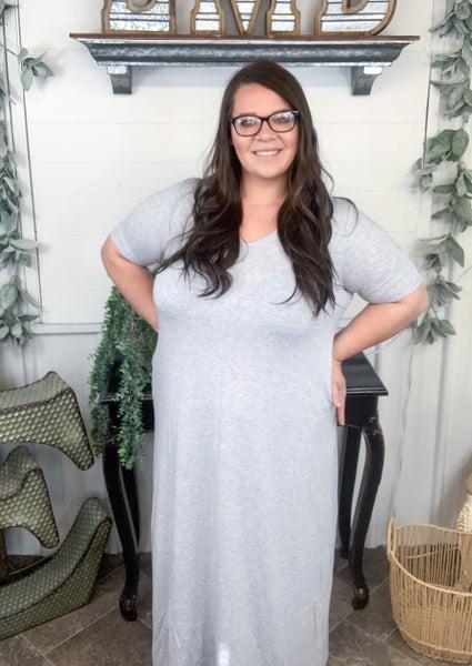 Heather Grey V-Neck Maxi Dress*