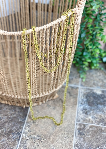 Iridescent Chartreuse Crystal Skinny Bead Necklace