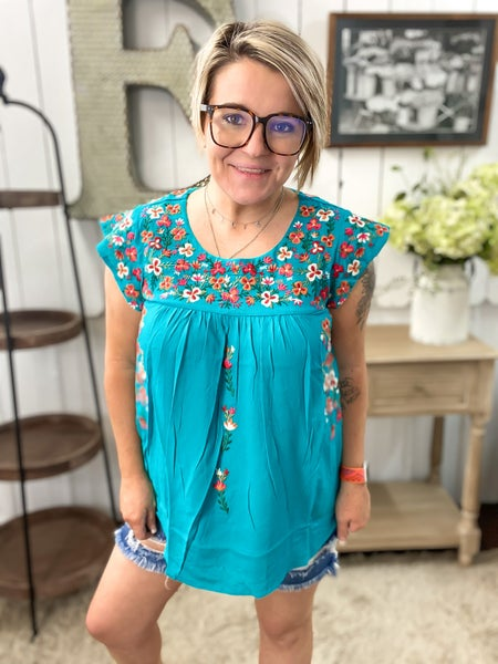 Teal Embroidered Ruffled Cap Sleeve Top