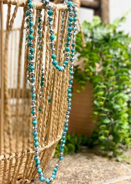 Silver & Sky Blue Crystal Bead Necklace