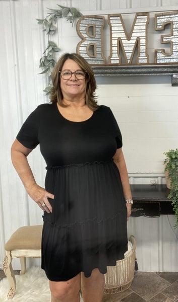 Black Ruffle Tiered Dress