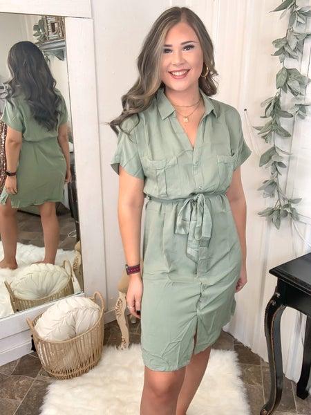 Olive Snap Button Dress