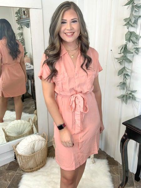 Peach Snap Button Dress