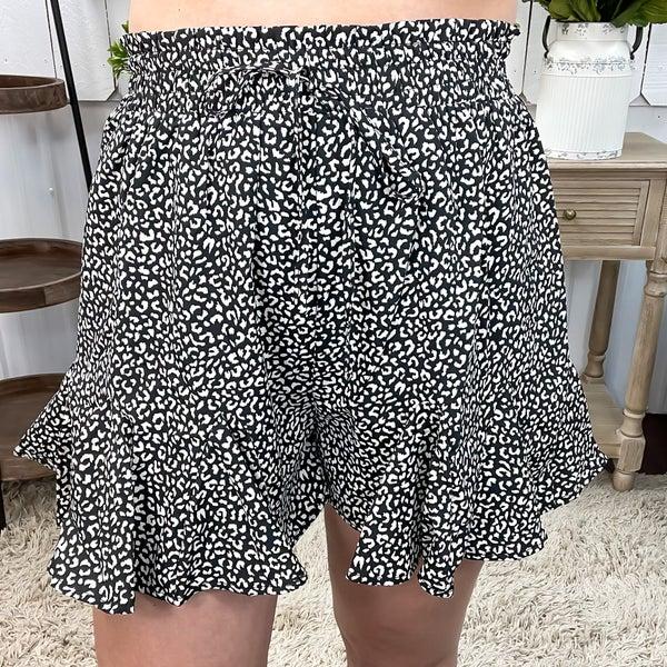 Black Cheetah Print Ruffle Shorts
