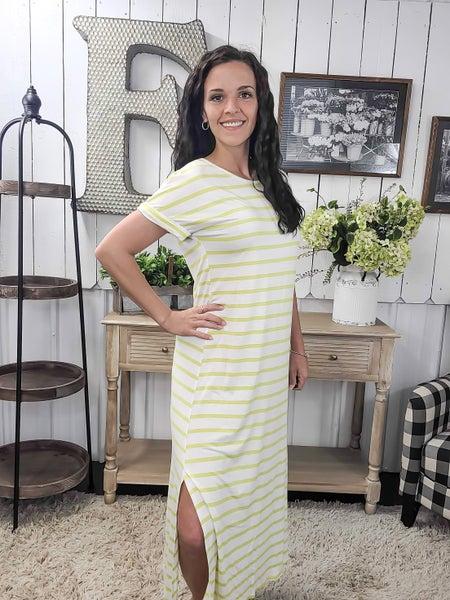 Lime Stripes Split Side Midi Dress