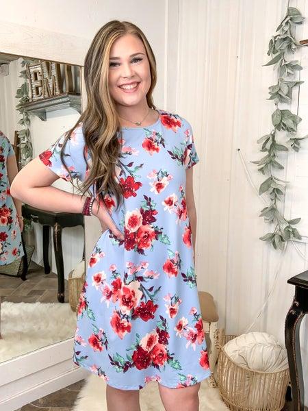 Powder Blue Floral Print Dress