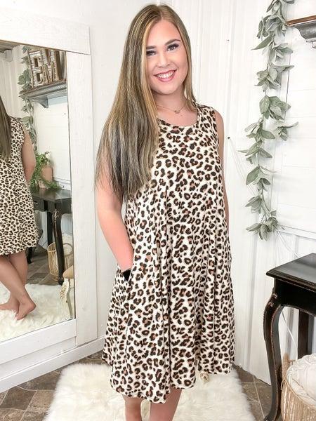 Beige Leopard Flare Dress (ONLINE ONLY)*
