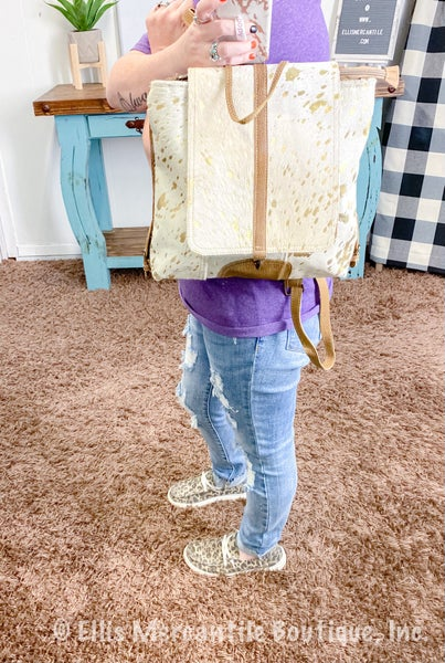 Myra Silvery Touch Leather & Hairong Backpack