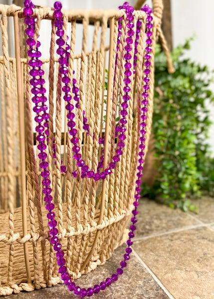 Iridescent Purple Crystal Bead Necklace