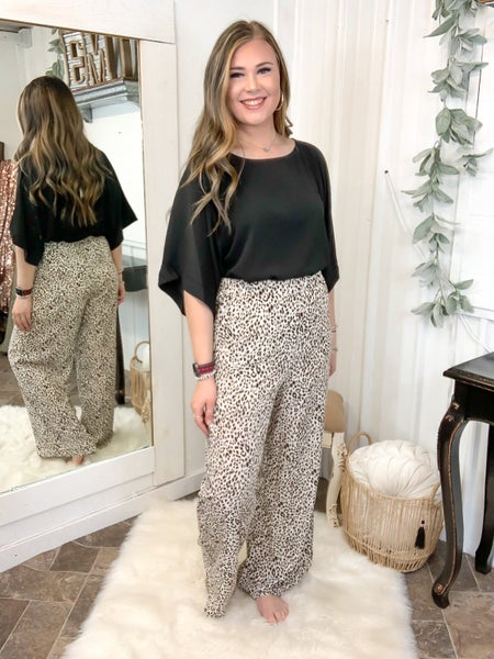 Cream Leopard Palazzo Pants  (ONLINE ONLY)*