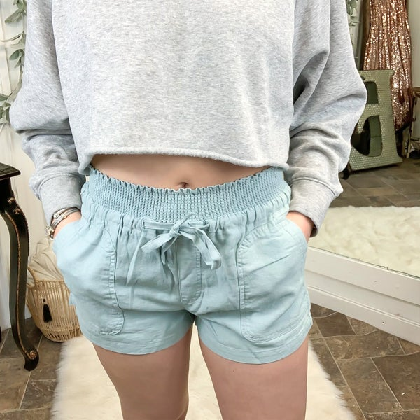 Mint Smocked Waist Linen Shorts (ONLINE ONLY)*