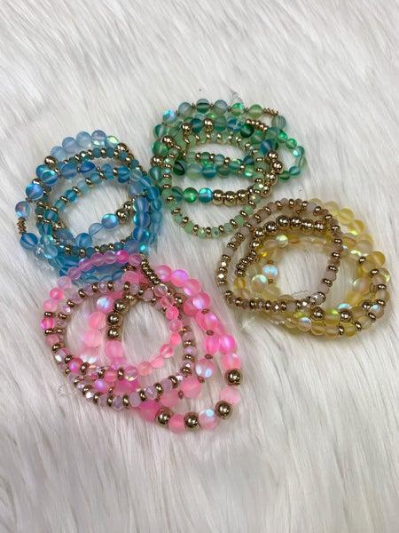 Translucent & Gold Beaded Bracelet Set (ONLINE ONLY)*
