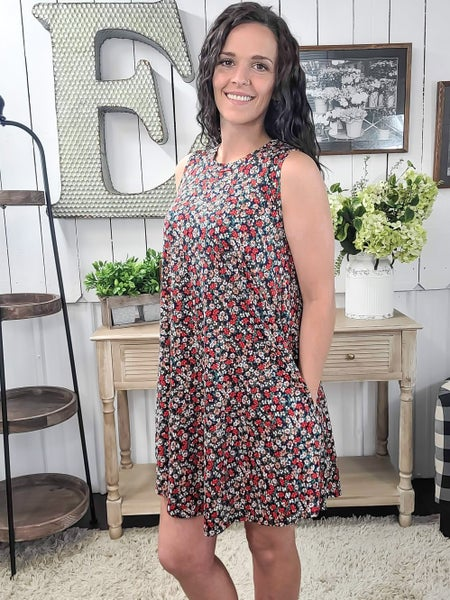 Navy & Red Floral Tank Dress