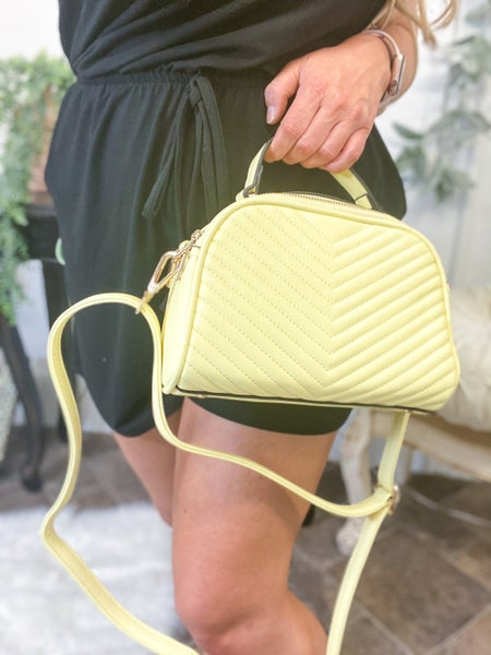 Quilted Chevron Top Handle Bag