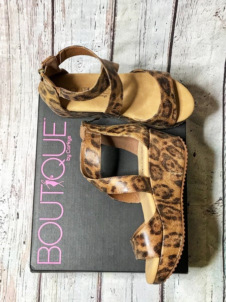 Corkys Fay Wedge Distressed Leopard